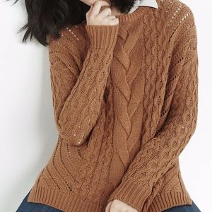 Express Oversized Open Cable Knit Tunic Sweater